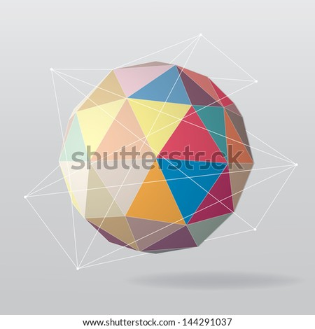 Colorful globe geometrical background. Vector illustration - stock vector