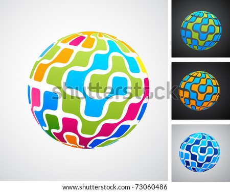 Colorful globes with digital pattern - stock vector