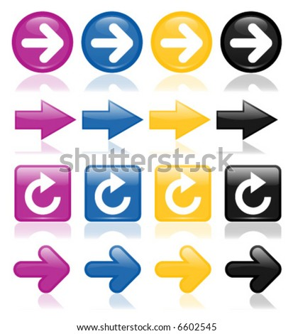 Colorful, glossy arrows in purple, blue, yellow and black; perfect for any web project - stock vector