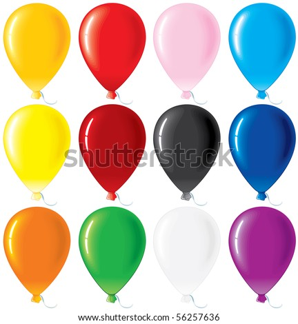 Colorful glossy balloons. vector set - stock vector