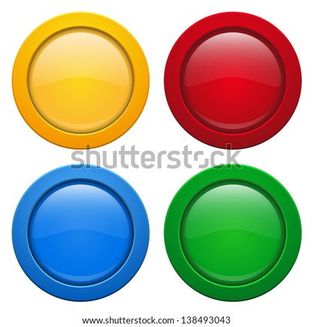 Colorful glossy buttons - stock vector