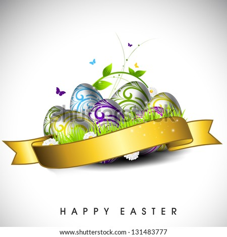 Colorful, glossy eggs with golden ribbon for Happy Easter. - stock vector