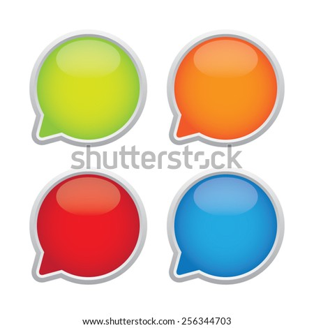 Colorful Glossy Empty Speech Bubble Labels - stock vector