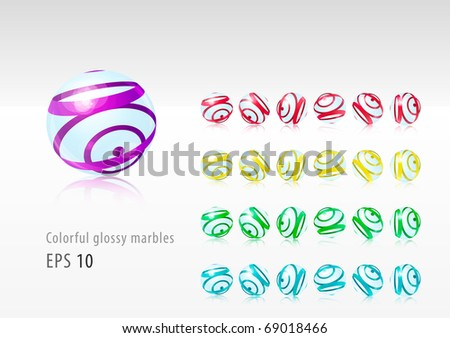 Colorful glossy marbles (eps10) - stock vector