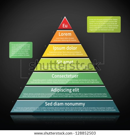 Colorful glossy pyramid chart. Useful for infographics and presentations. - stock vector