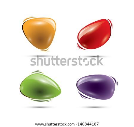 Colorful glossy shiny speech balloons, EPS 10, isolated - stock vector