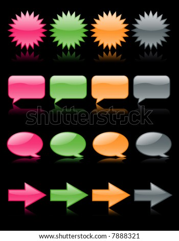 Colorful glossy web icons reflected on black - stock vector