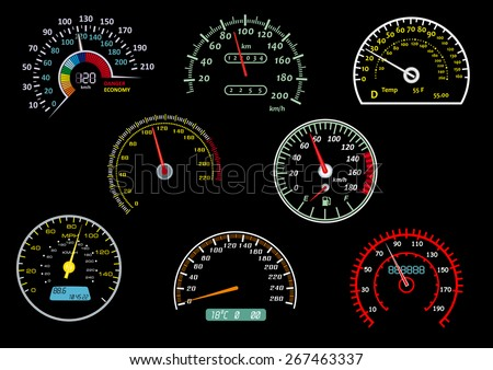 Colorful glowing car speedometers with needles in different positions isolated on black background suitable for racing or transportation design - stock vector