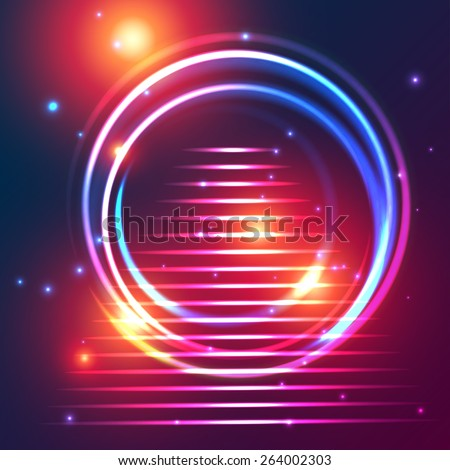 Colorful glowing cosmic portal annular shape with steps on a background of twinkling stars and flashes. Fully editable vector illustration. - stock vector