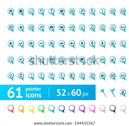 Colorful GPSmark  (pin pointer) & map vector icon set isolated on white background - stock vector