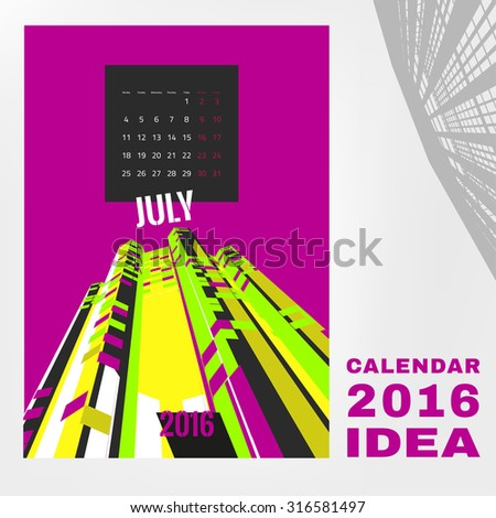 Colorful graphic design of an English Calendar. Week starts from Monday. Vivid architectural digital concept with city life silhouettes. Creative and unique style. Vector editable illustration - stock vector