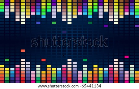 Colorful Graphic Equalizer Display for title page design. - stock vector