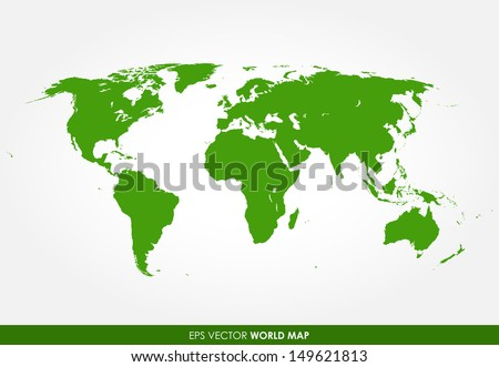 Colorful green detailed world map vector - the most finest world map graphic  - stock vector