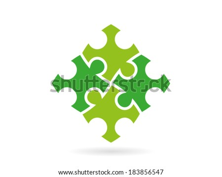 Colorful green puzzle pieces forming a whole square in movement vector graphic illustration template isolated on white background - stock vector