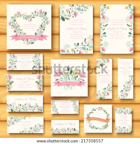 colorful greeting wedding invitation card illustration set. Flower vector design concept collection - stock vector
