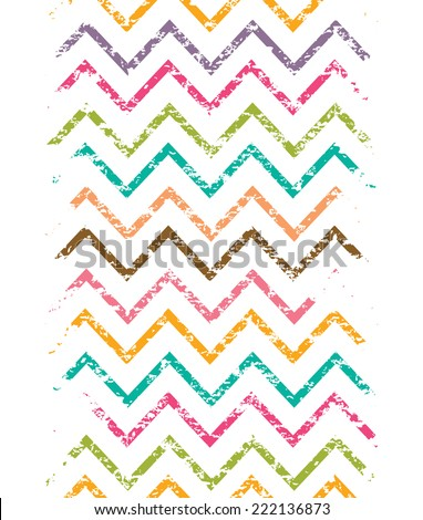 Colorful grunge chevron vertical border seamless pattern background - stock vector