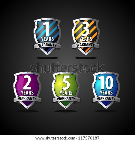 Colorful guarantee label shields - stock vector