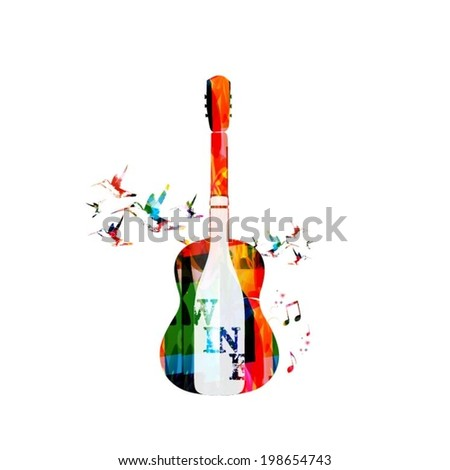 Colorful guitar and wine design - stock vector