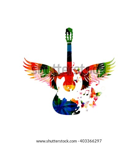 Colorful guitar with wings - stock vector