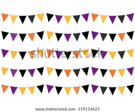 Colorful Halloween Flags. Vector Illustration  - stock vector