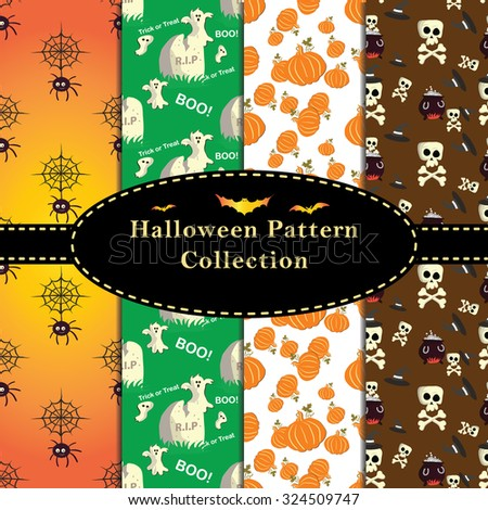Colorful Halloween Patterns collection. Set of seamless patterns for fabric,  wrapping paper,etc. Print colors used. Patterns are in swatches. - stock vector