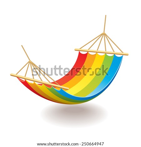 Colorful hammock isolated on white photo-realistic vector illustration - stock vector