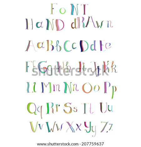 Colorful hand drawn alphabet made in vector. ABC for your design. Easy to use and edit letters.  - stock vector