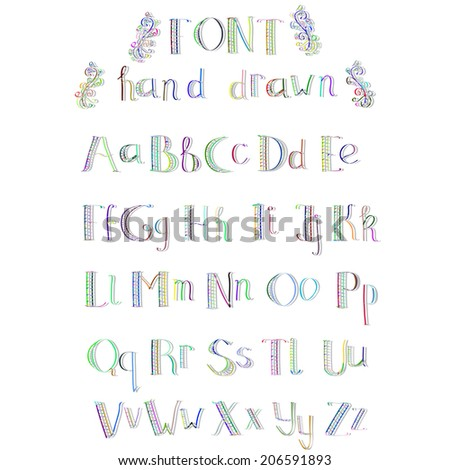 Colorful hand drawn alphabet with shadow made in vector. ABC for your design. Easy to use and edit letters.  - stock vector