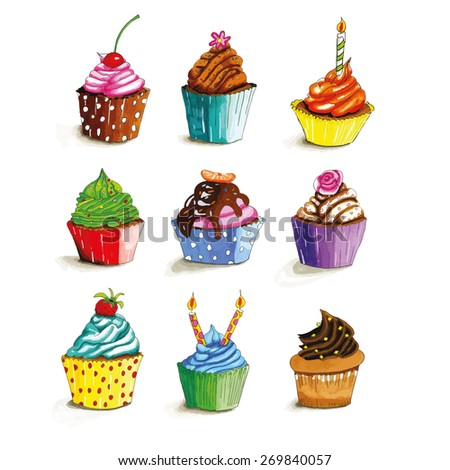 Colorful hand drawn cupcakes - stock vector
