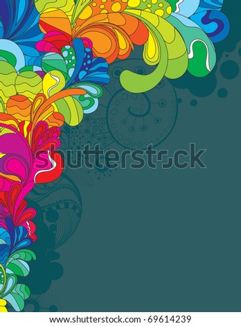 Colorful hand drawn design with space for your message - stock vector