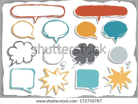 colorful hand drawn different shapes blank speech bubble set isolated on white background with place for your text - stock vector