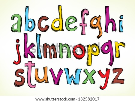 Colorful hand drawn illustration with the full set of the letters of the alphabet in lower case isolated on white - stock vector