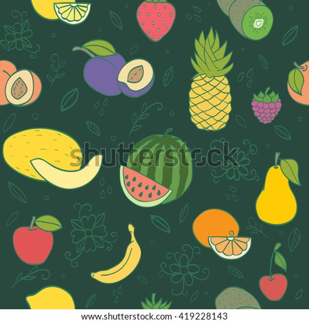 Colorful hand drawn seamless pattern with fruits and berries. Doodle pineapple, banana, watermelon, orange  peach and other juicy fruits - stock vector