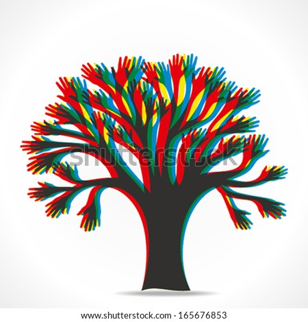 colorful hand overlap hand tree vector - stock vector