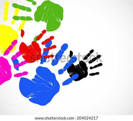 Colorful hand prints on the white background vector - stock vector