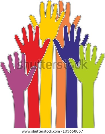 colorful hands silhouette vector - stock vector