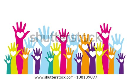 colorful hands up with hearts over white background. vector - stock vector