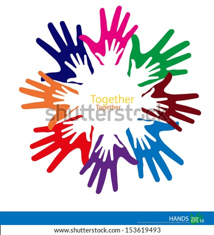 Colorful hands. Vector illustration. - stock vector