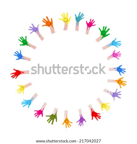 colorful hands with smiling faces - stock vector