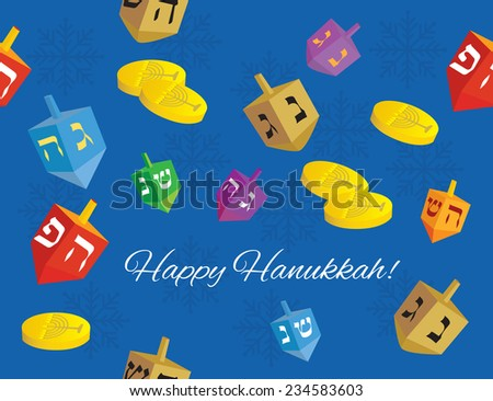 colorful Hanukkah background of dreidels, coins and snowflakes with the words 'happy Hanukkah' - Vector illustration  - stock vector