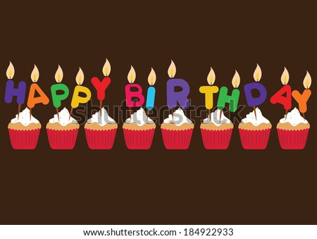 colorful happy birthday candles. concept vector illustration - stock vector