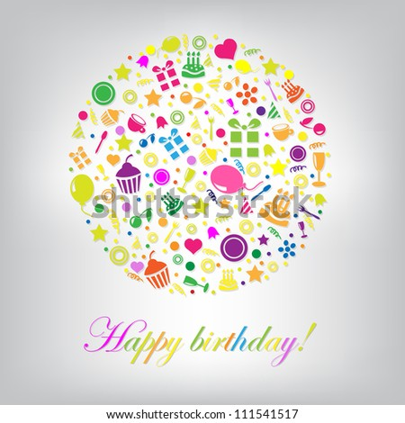 Colorful Happy Birthday Card, Isolated On Grey Background, Vector Illustration - stock vector