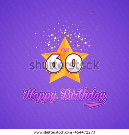 Colorful Happy Birthday Design, Age 60 Concept Greeting Card Template - stock vector