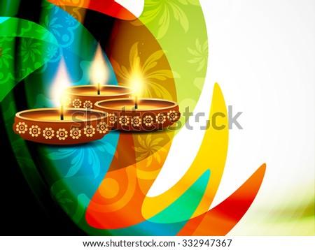 Colorful happy diwali background design. - stock vector