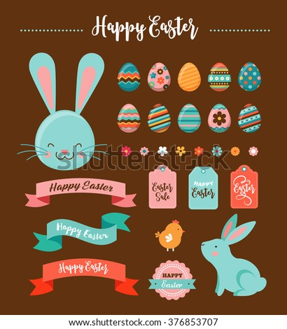 Colorful Happy Easter collection of icons with rabbit, bunny, eggs and banners - stock vector