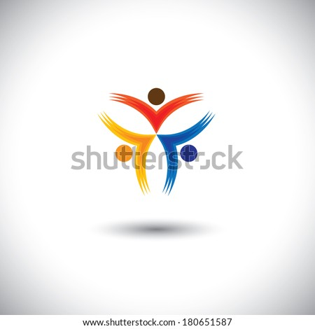 Colorful happy & excited people vector icons - concept graphic. This illustration can represent children having fun, friends partying, excited community, happy employees, satisfied customers  - stock vector