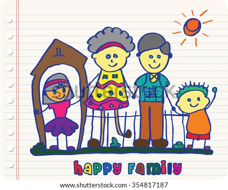 colorful Happy Family sketch - stock vector