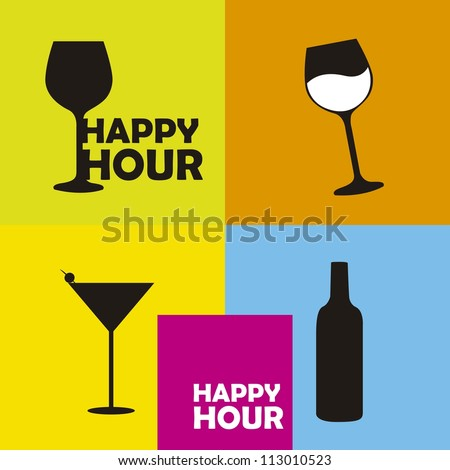 colorful happy hour signs background. vector illustration - stock vector