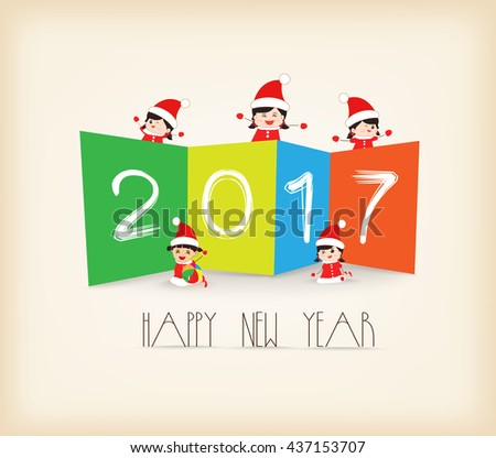 Colorful Happy New Year 2017 kids background - stock vector