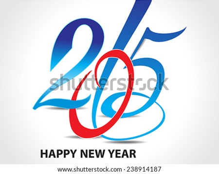 colorful happy new year 2015 text background illustration - stock vector